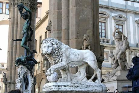 Sculptures in the loggia della signoria in Florence